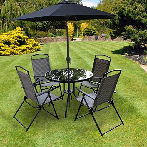 Kingfisher 6 Piece Grey Padded Chairs x4, Glass Table and ...